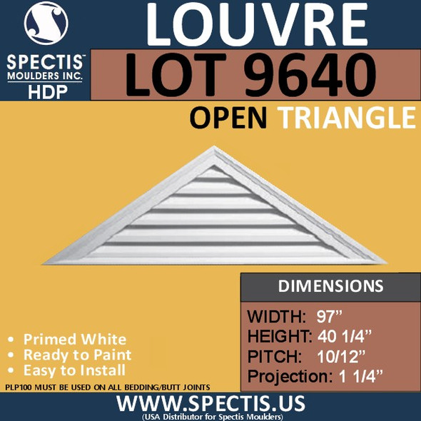 LOT 9640 Triangle Gable Louver Vent - Open - 97 x 40 1/4