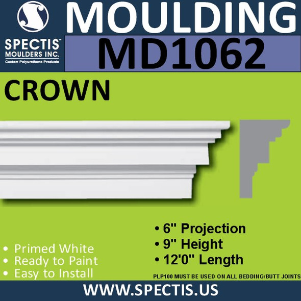 "MD1062 Spectis Molding Head Trim 6""P x 9""H x 144""L"