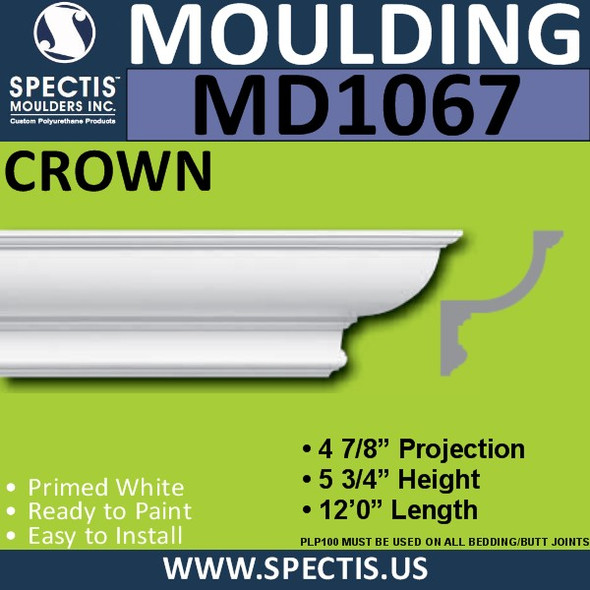 "MD1067 Spectis Crown Molding Trim 4 7/8""P x 5 3/4""H x 144""L"