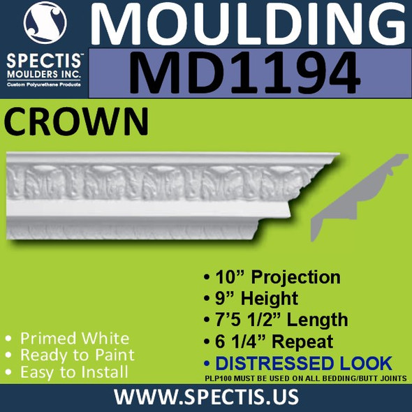"MD1194 Spectis Crown Molding Distressed 10""P x 9""H x 89 1/2""L"