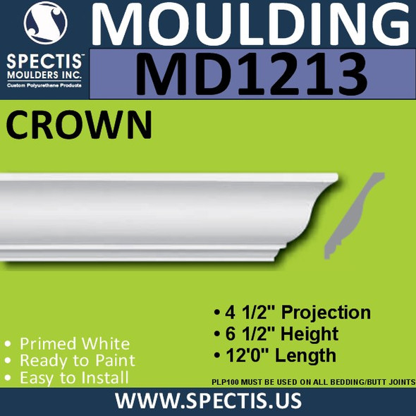 "MD1213 Spectis Crown Molding Trim 4 1/2""P x 6 1/2""H x 144""L"