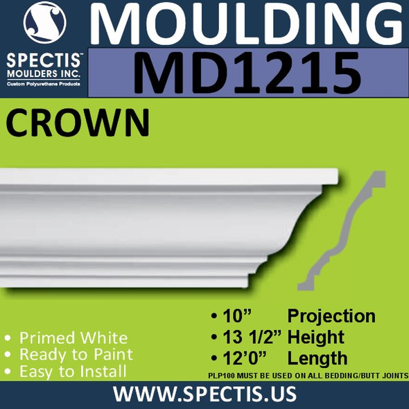 "MD1215 Spectis Crown Molding Trim 10""P x 13 1/2""H x 144""L"