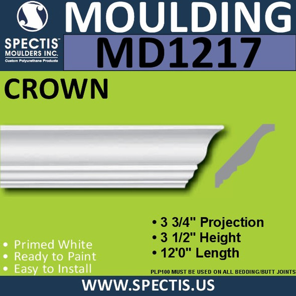 "MD1217 Spectis Crown Molding Trim 3 3/4""P x 3 1/2""H x 144""L"