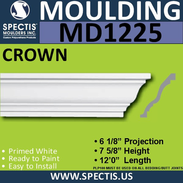 "MD1225 Spectis Crown Molding Trim 6 1/8""P x 7 5/8""H x 144""L"