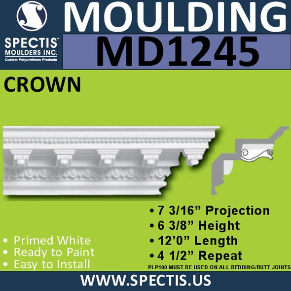 "MD1245 Spectis Crown Dentil 7 3/16""P x 6 3/8""H x 11' 6 3/4""L"