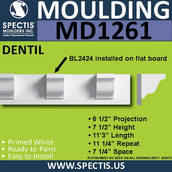 "MD1261 Spectis Crown Molding Dentil 6 1/2""P x 7 1/2""H x 144""L"
