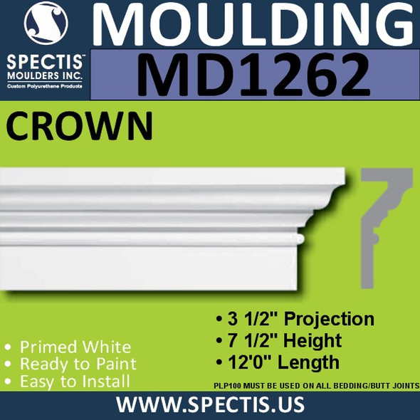 "MD1262 Spectis Crown Molding Base 3 1/2""P x 7 1/2""H x 144""L"