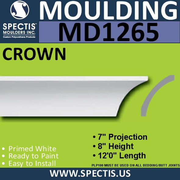 "MD1265 Spectis Crown Molding Trim 7""P x 8""H x 144""L"