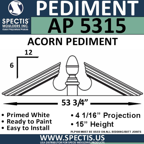 "AP5315 Acorn Pediment for Window/Door 53 3/4"" x 15"""