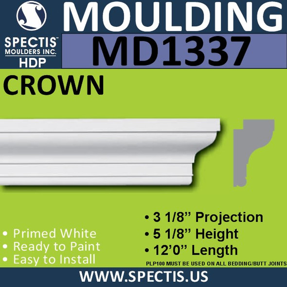 "MD1337 Spectis Molding Back Band 3 1/8""P x 5 1/8""H x 144""L"