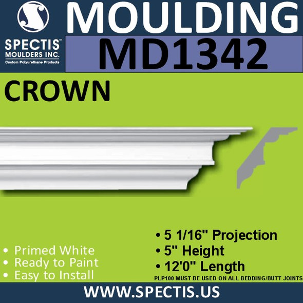 "MD1342 Spectis Crown Molding Trim 5 1/16""P x 5""H x 144""L"