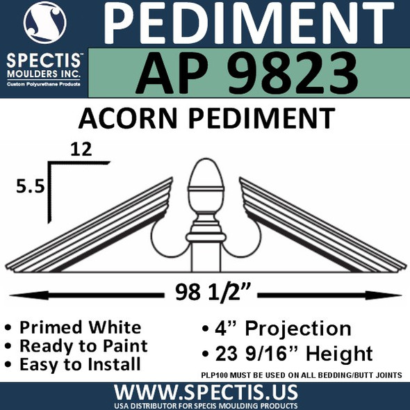 "AP9823 Acorn Pediment for Window/Door 98 1/2"" x 23 9/16"""