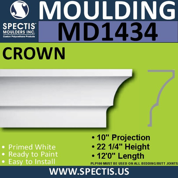 "MD1434 Spectis Crown Molding Trim 10""P x 22 1/4""H x 144""L"