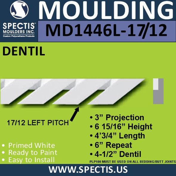 "MD1446L-17/12 Pitch Dentil Trim Left 3""P x 6 15/16""H x 48""L"