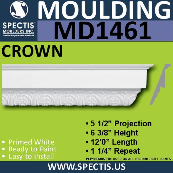 "MD1461 Spectis Crown Molding Trim 5 1/2""P x 6 3/8""H x 144""L"