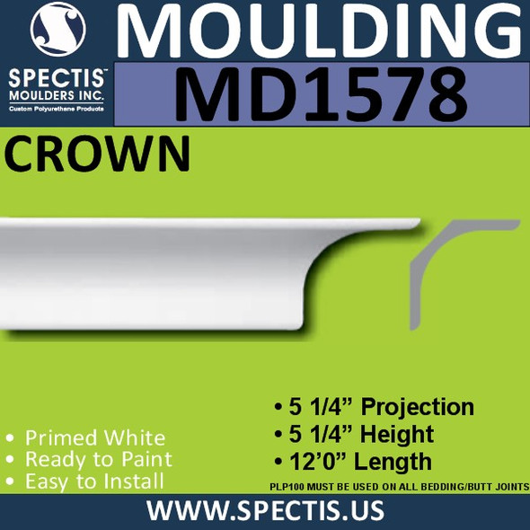 "MD1578 Spectis Crown Molding Trim 5 1/5""P x 5 1/4""H x 144""L"