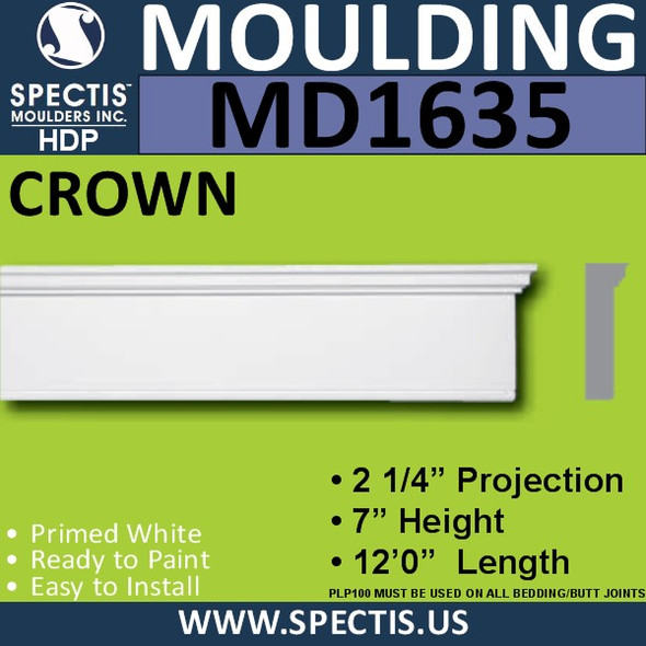 "MD1635 Spectis Molding Base Trim 2 1/4""P x 7""H x 144""L"