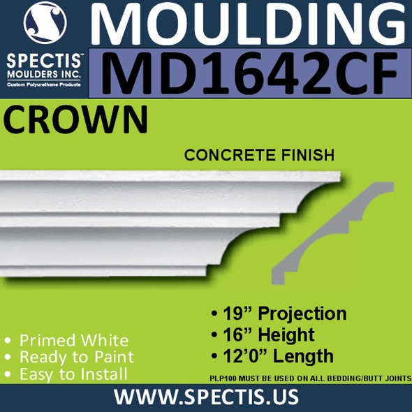 "MD1642CF Spectis Crown Concrete Finish 19""P x 16""H x 144""L"