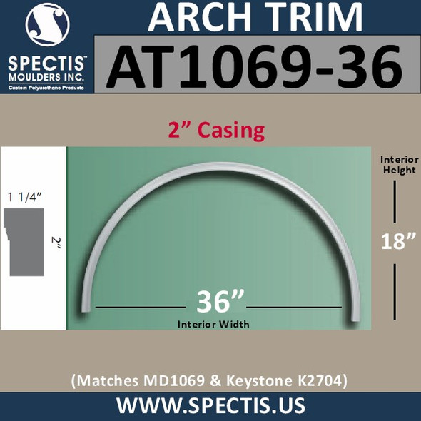 "AT1069-36 Arch Circle Top 2"" Casing Fits 36"" Opening"