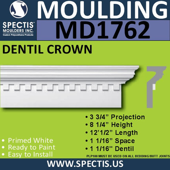 "MD1762 Spectis Crown Molding Cap Trim 3 3/4""P x 8 1/4""H x 144.5""L"