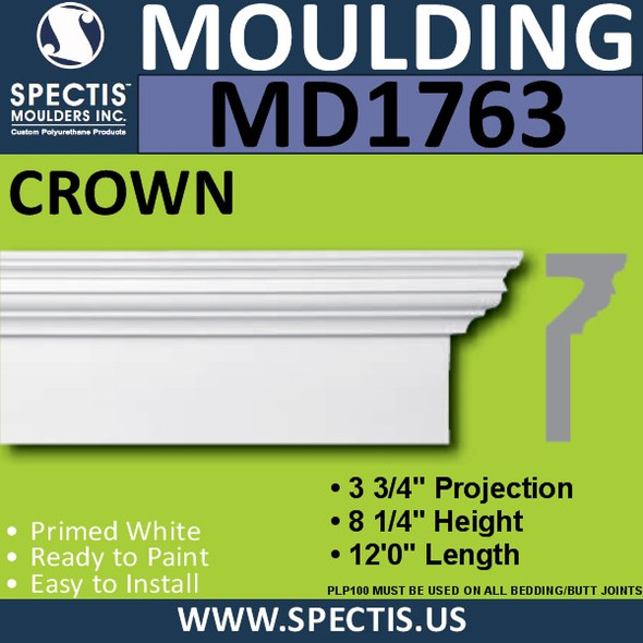 "MD1763 Spectis Crown Molding Trim 3 3/4""P x 8 1/4""H x 144""L"
