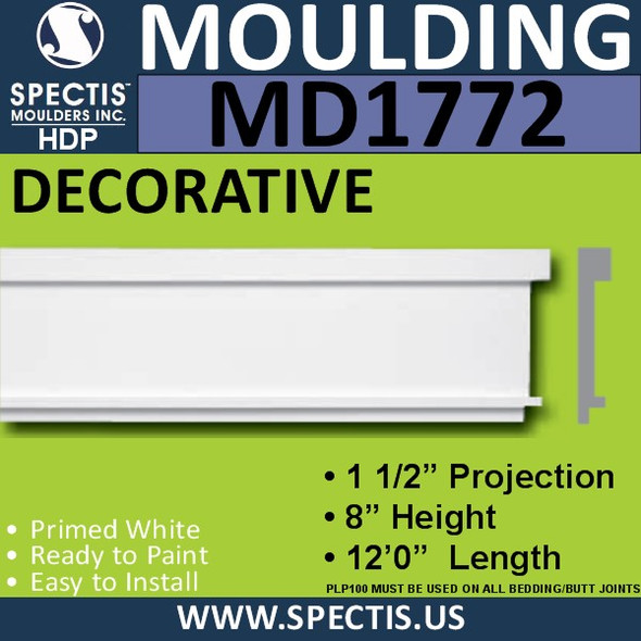 "MD1772 Spectis Molding Base Trim 1 1/2""P x 8""H x 144""L"