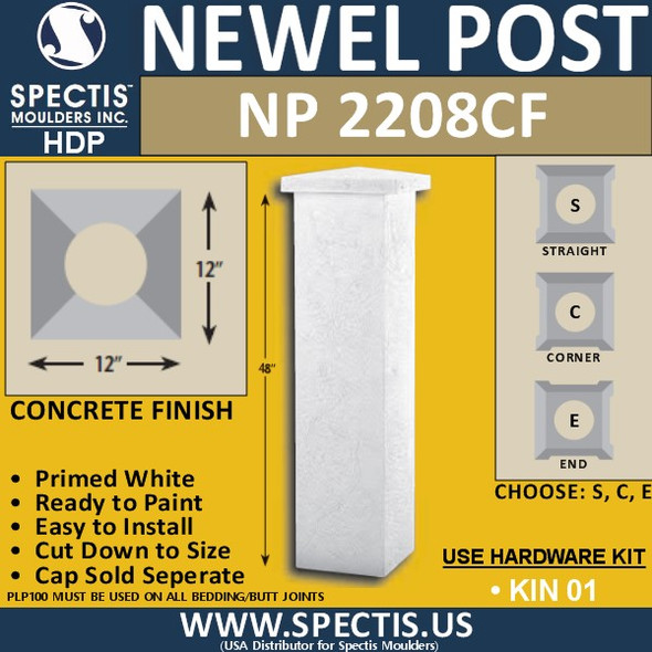 "NP2208CF Concrete Finish Newel Post 12"" W x 48"" H"