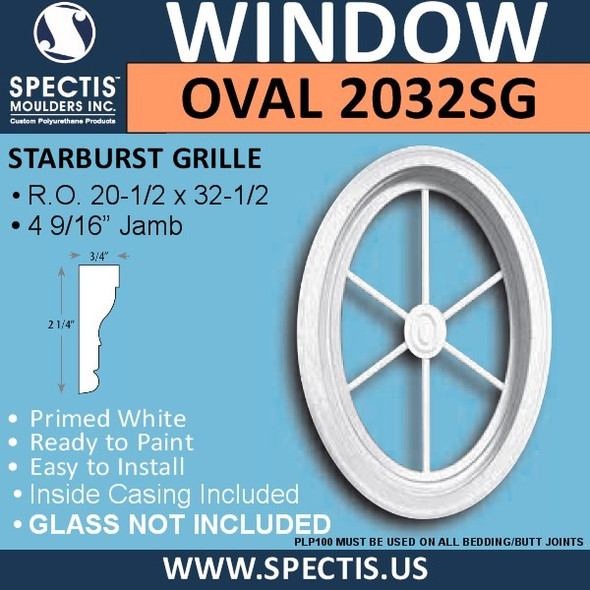 "OVAL2032SG Oval Window with Starburst Grill 22 1/2"" x 34 1/4"""