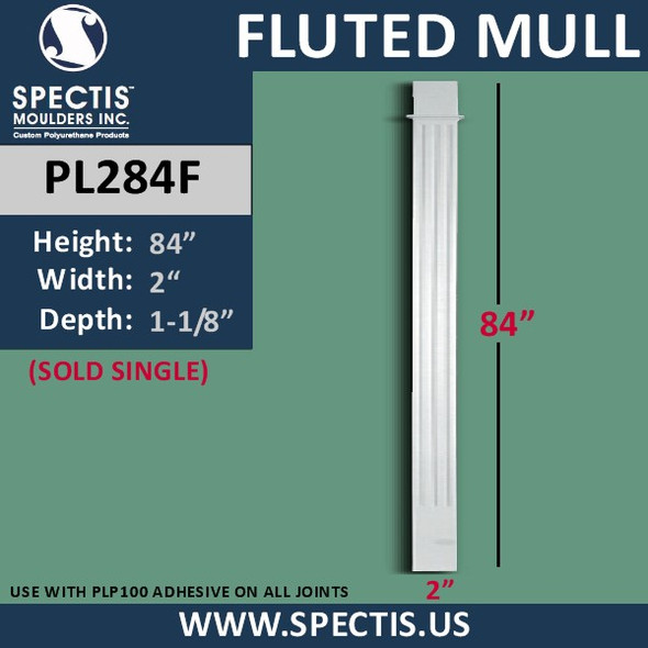 "PL284F Fluted Panel Mull Pilaster from Spectis 2"" x 84"""
