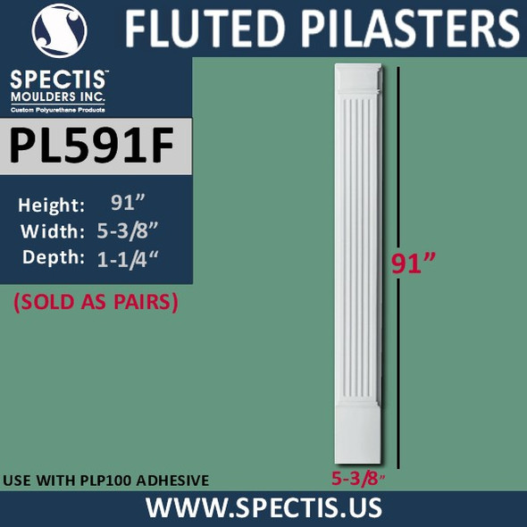 """PL591F Fluted Pilasters from Spectis Urethane 5"""" x 91"""""""