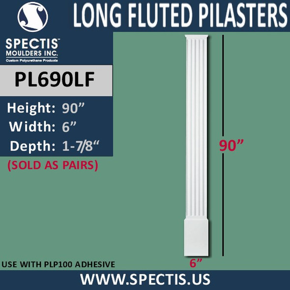 """PL690LF Long Fluted Pilasters from Spectis Urethane 6"""" x 90"""""""