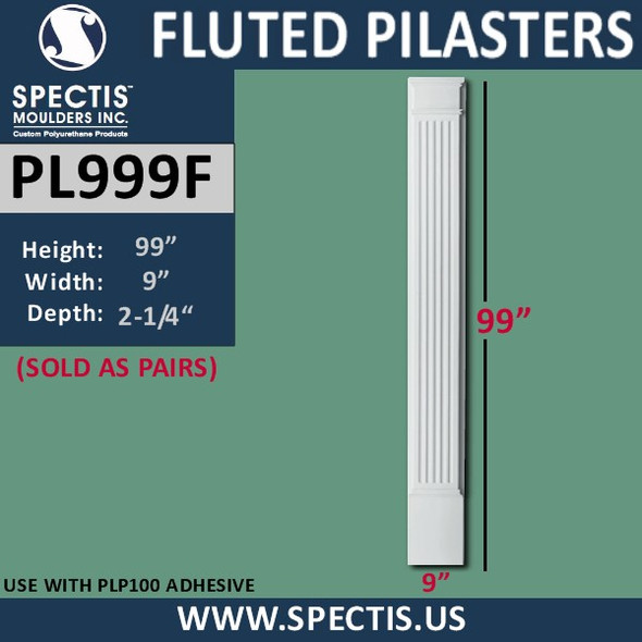 """PL999F Fluted Pilaster from Spectis Urethane 9"""" x 99"""""""