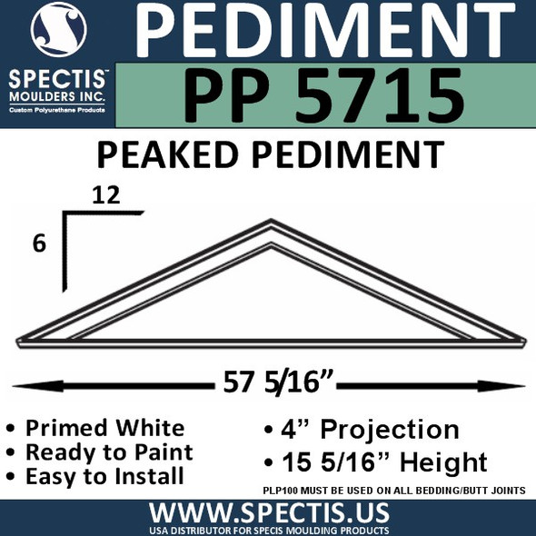 "PP5715 Peaked Pediment for Door 57 5/16"" x 15 5/16"""