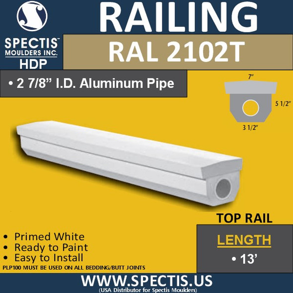 """RAL2102T 3 1/2""""W Top Railing in 12' Length"""