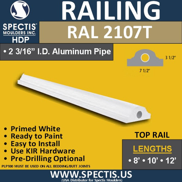 """RAL2107T 7 1/2"""" Wide Top Hand Rail with Round Top 12' Long"""