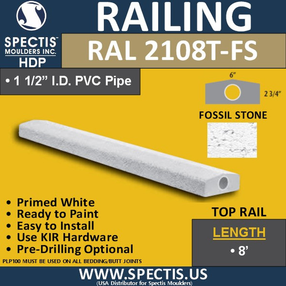 """RAL2108T-FS Fossil Stone 6""""W Top Hand Rail with Peak 12' Long"""