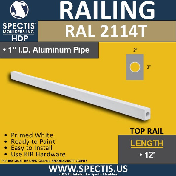 """RAL2114T 2"""" Wide x 3"""" Height x 12' Long Top Hand Rail"""