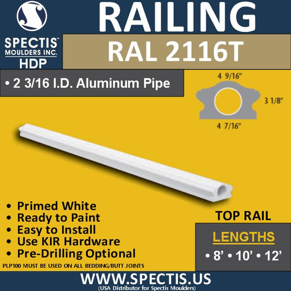 """RAL2116T 4 7/16"""" Wide x 12' Long Top Hand Railing"""
