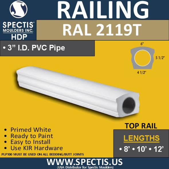 """RAL2119T 4 1/2"""" Wide Top Hand Rail in 8' 10' or 12' Lengths"""
