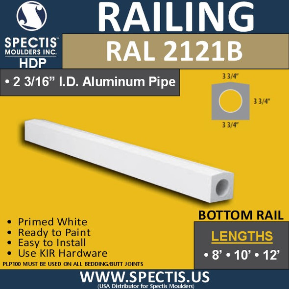"""RAL2121B 3 3/4"""" Wide Top Hand Rail in 8' 10' or 12' Lengths"""