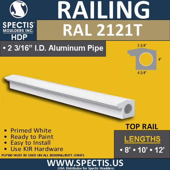 """RAL2121T 3 3/4""""Wide Top Hand Rail in 8' 10' or 12' Lengths"""
