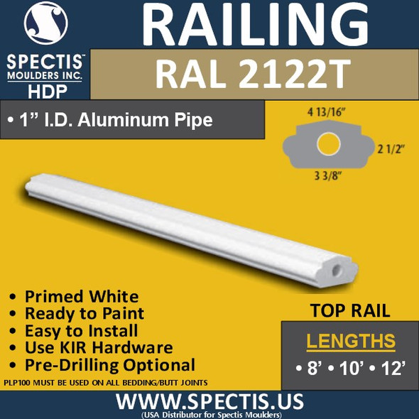 """RAL2122B 3 3/8"""" Wide Top Hand Rail in 8' 10' or 12' Lengths"""