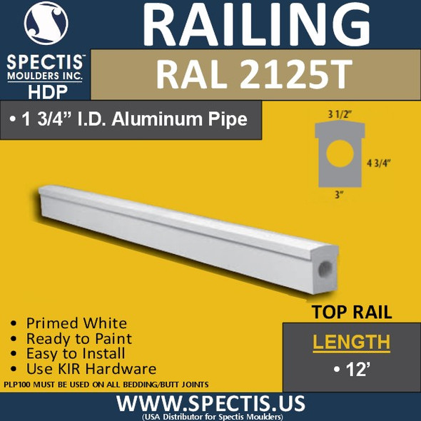 "RAL2125T 3"" Wide Top Hand Rail in 8' 10' or 12' Lengths"