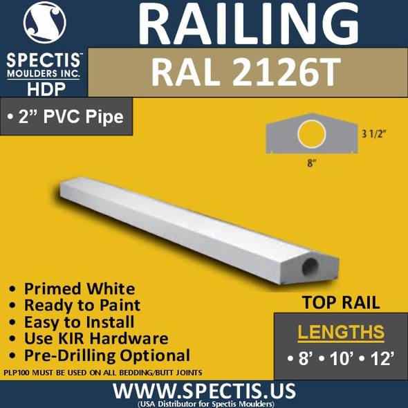 "RAL2126T 8"" Wide x 12' Long Top Hand Railing"