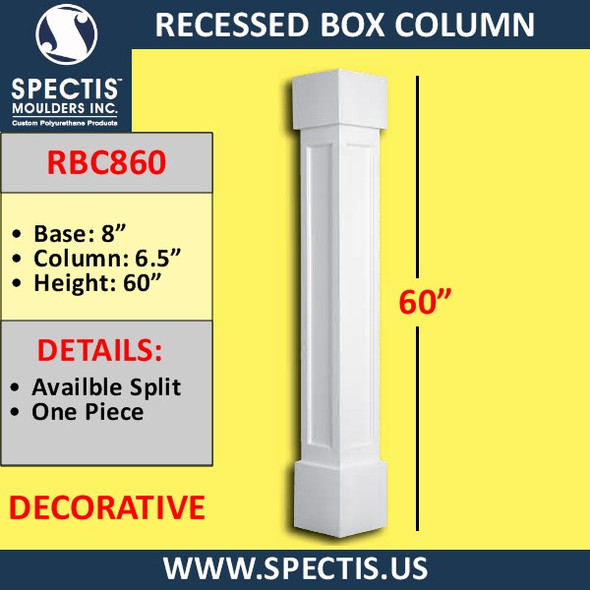 "RBC860 Recessed Decorative Box Column 6.5"" x 60"""