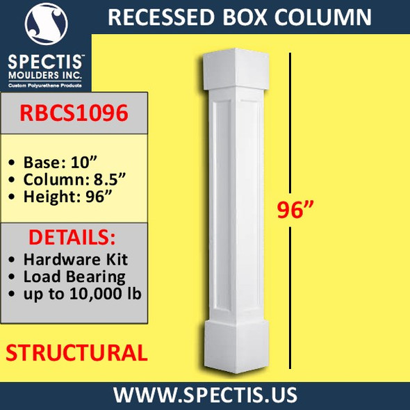 """RBCS1096 Recessed Structural Box Column 8.5"""" X 96""""H"""