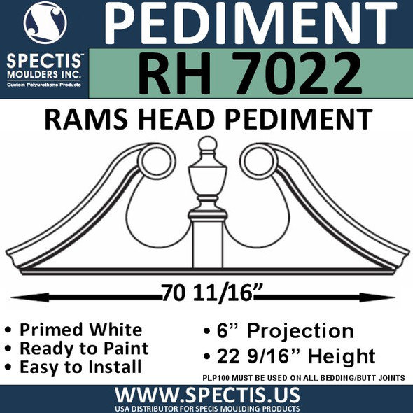 "RH7022 Rams Head Window/Door Pediment 70 11/16"" x 22 9/16"""