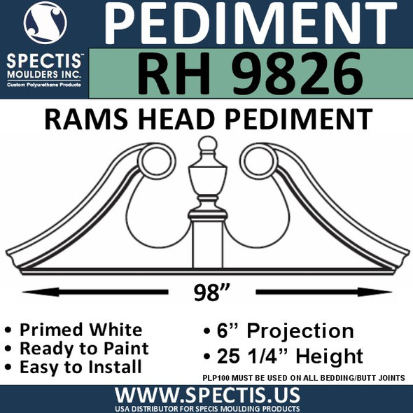"RH9826 Rams Head Window/Door Pediment 98"" x 25 1/4"""
