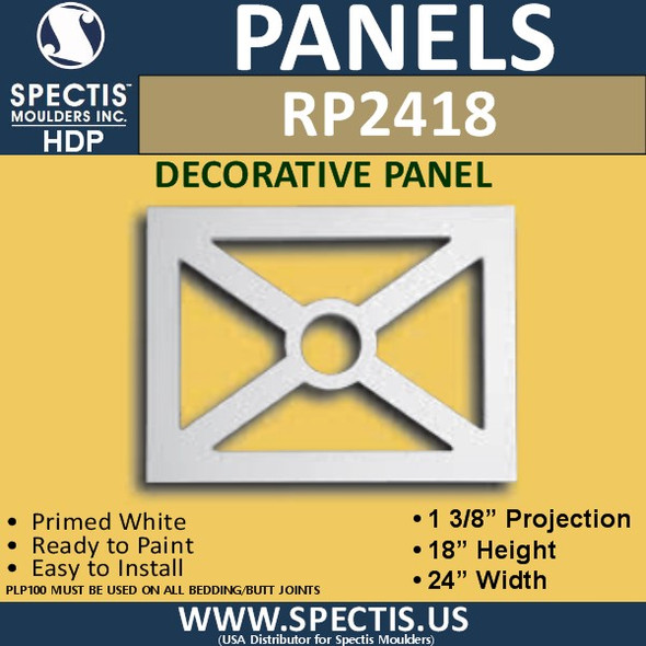 "RP2418 Decorative Raised Panel 1 3/8""P X 18""H X 24""W"