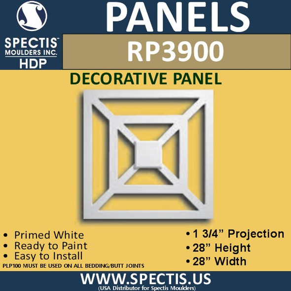 "RP3900 Decorative Raised Square Panel 1 3/4""P X 28"""